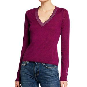 NWT Rag & Bone Magenta Pamela V Neck Sweater M